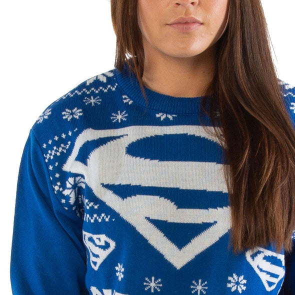 London Co. DC Superman Logo Blue Unisex Christmas Knitted Jumper