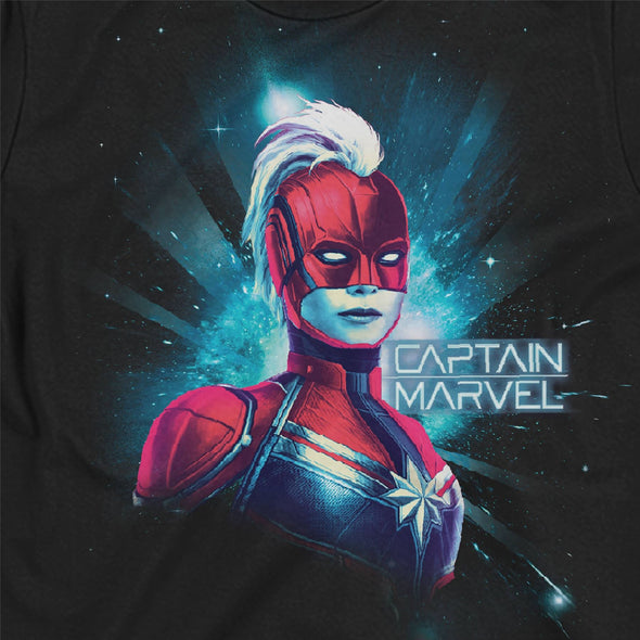 Captain Marvel Neon Ladies Black T-Shirt