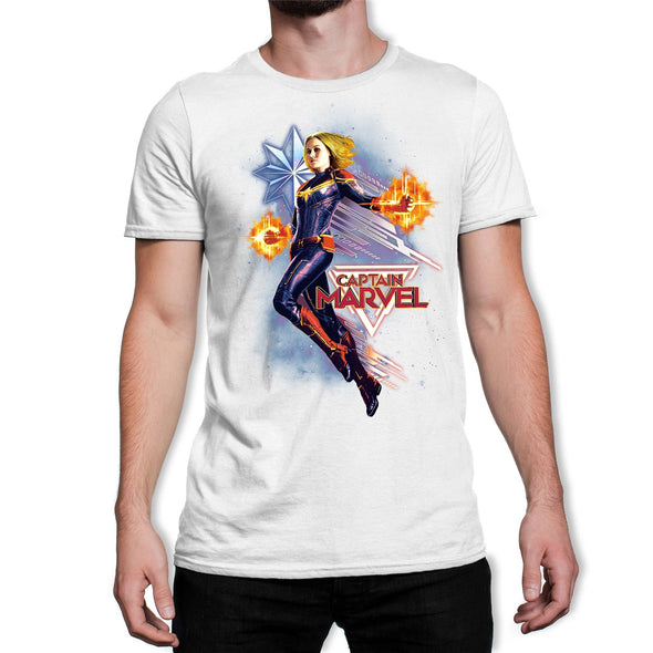 Captain Marvel Flying Galactic Shine Men's White T-Shirt