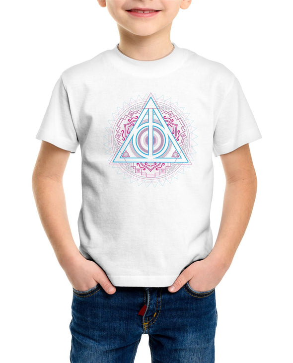 Harry Potter Deathly Hallows Neon Symbol Children's Unisex White T-Shirt