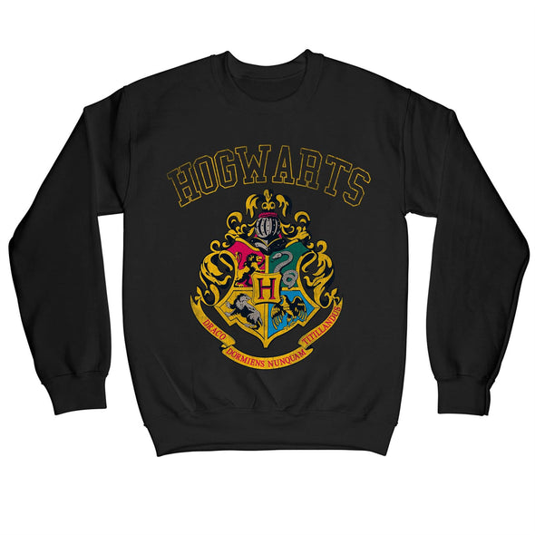 Harry Potter Hogwarts Varsity House Crest & Logo Adults Unisex Black Sweatshirt