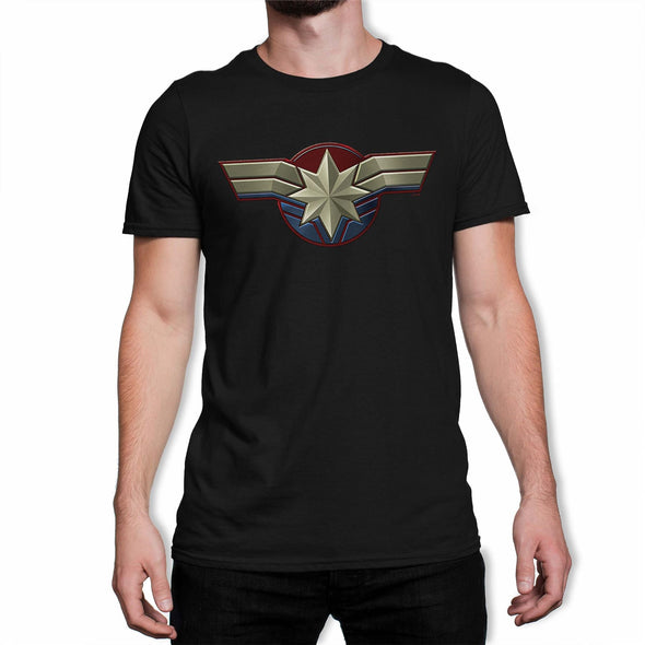 Captain Marvel Emblem Men's Black T-Shirt