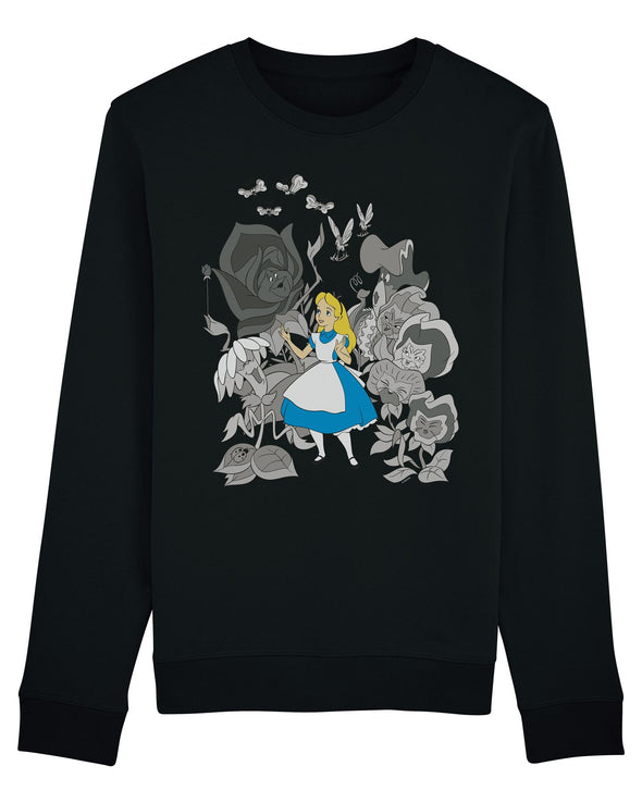 Alice In Wonderland Black & White Flowers Children's Unisex Black Sweatshirt