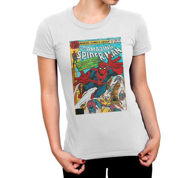 Spiderman The Amazing Spiderman Marvel Comic Book Cover Ladies White T-Shirt