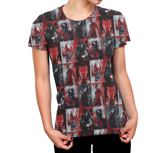 Avengers Endgame All Over Characters Ladies Red & Black Sublimation T-Shirt