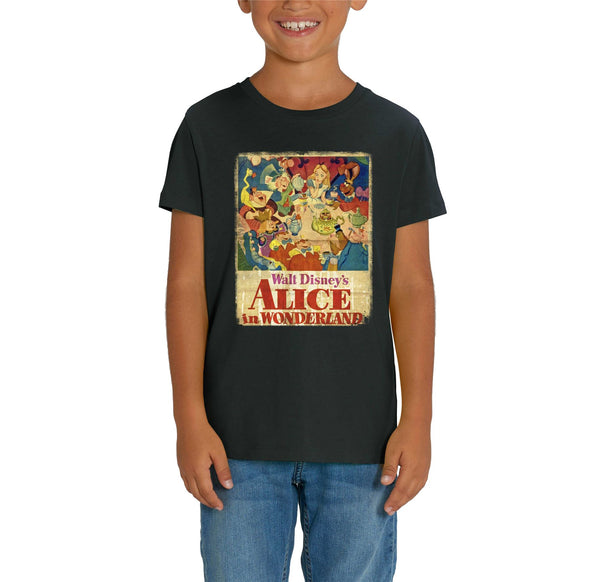 Alice In Wonderland Vintage Poster Children's Unisex Black T-Shirt