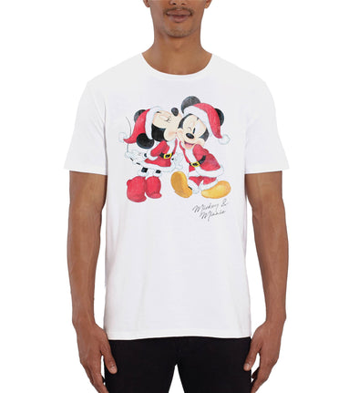 Disney Mickey and Minnie Mouse Christmas Men's White T-Shirt