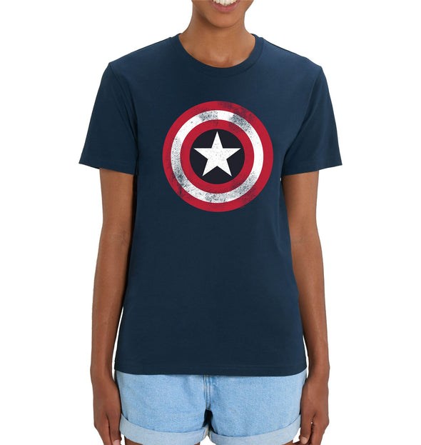 Marvel Captain America Shield Ladies Navy T-Shirt