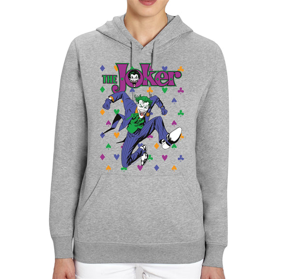 DC Comics The Joker Playing Cards Icons Adults Unisex Grey Hoodie