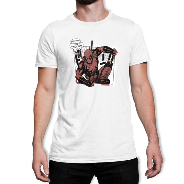 Deadpool Tacos Men's White T-Shirt