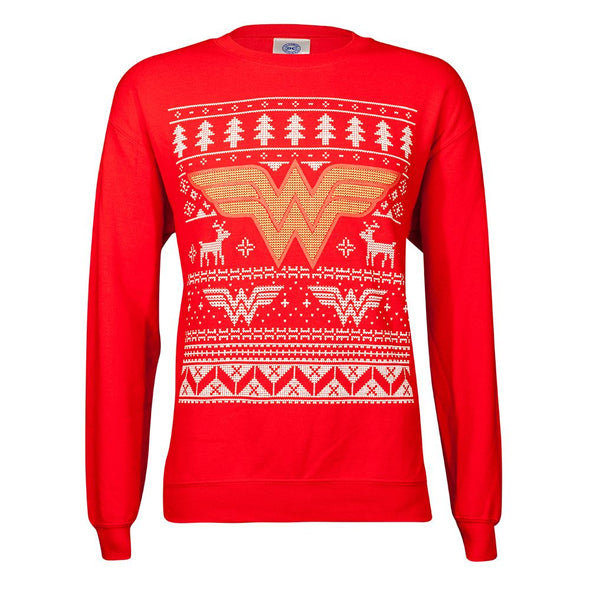 DC Comics Wonder Woman Red Unisex Christmas Jumper
