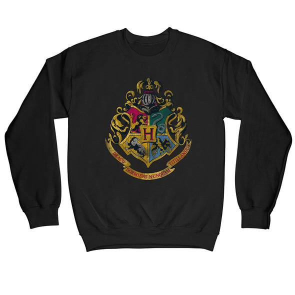 Harry Potter Distressed Hogwarts Crest Children's Unisex Black Sweatshirt