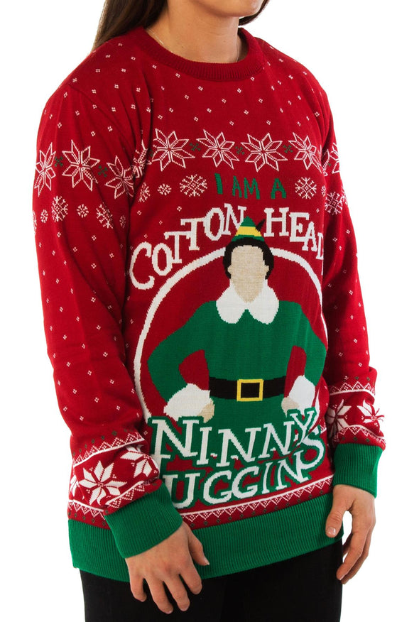 Official Elf I am a Cotton Headed Ninny Muggins Red Knitted Christmas Jumper
