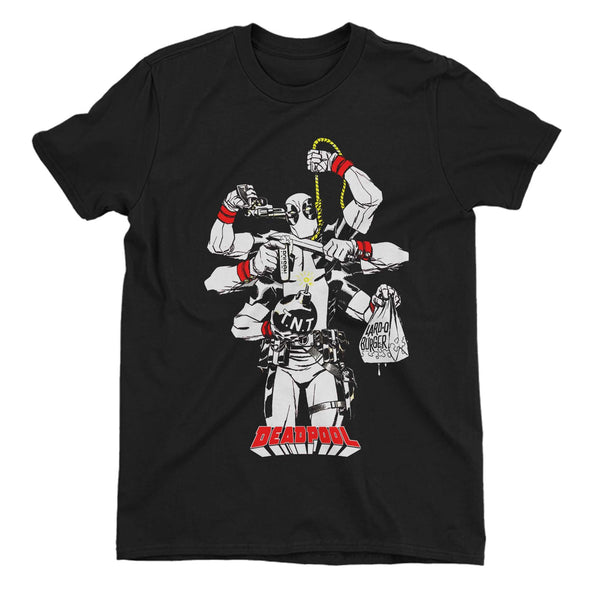 Deadpool Multi Hands Men's Black T-Shirt