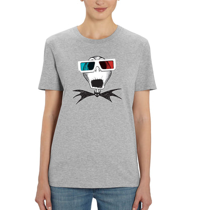 Nightmare Before Christmas Jack Skellington 3D Glasses Ladies Grey T-Shirt