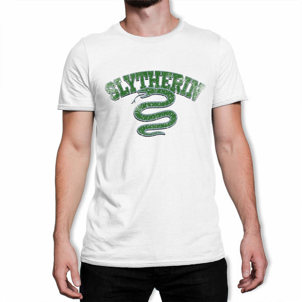 Harry Potter Distressed Slytherin Snake Men's White T-Shirt