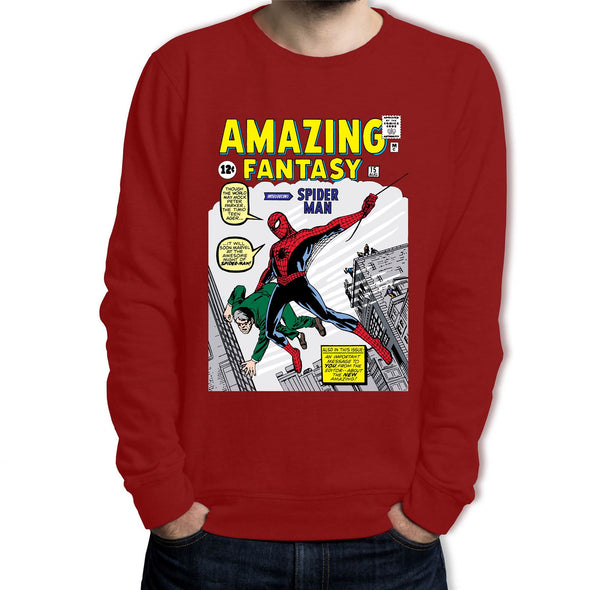 Spiderman Amazing Fantasy Comic Book Adults Unisex Red Sweatshirt