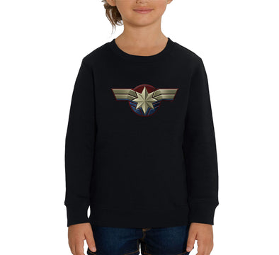 Captain Marvel Emblem Children's Unisex Black Sweatshirt
