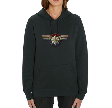 Captain Marvel Emblem Adults Unisex Black Hoodie