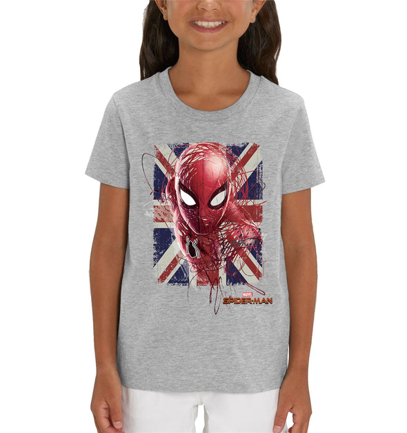 Marvel Spider-Man Far From Home English Flag Children's Unisex Grey T-Shirt