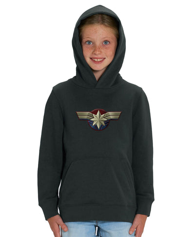 Captain Marvel Emblem Children's Unisex Black Hoodie