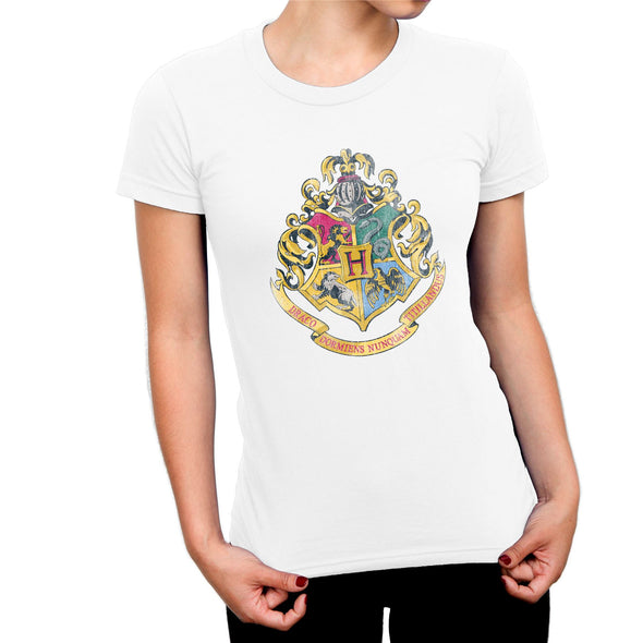 Harry Potter Distressed Hogwarts Crest Ladies White T-Shirt