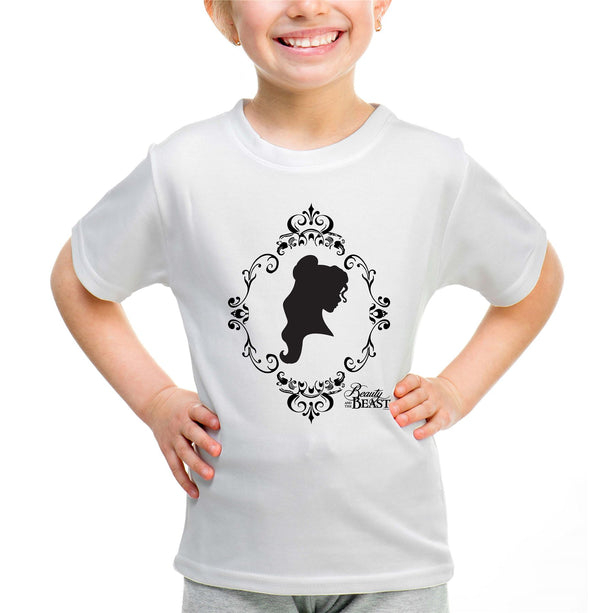 Disney Beauty & The Beast Rose Silhouette Girls White T-Shirt