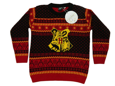 Official Harry Potter Hogwarts Crest Children's Red Knitted Christmas Jumper