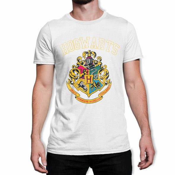 Harry Potter Hogwarts Varsity House Crest & Logo Men's White T-Shirt