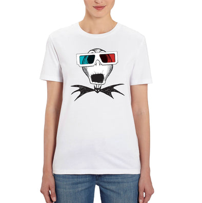 Nightmare Before Christmas Jack Skellington 3D Glasses Ladies White T-Shirt