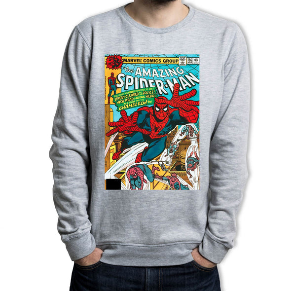 Spiderman The Amazing Spiderman Marvel Comic Book Cover Adults Unisex Grey Sweatshirt