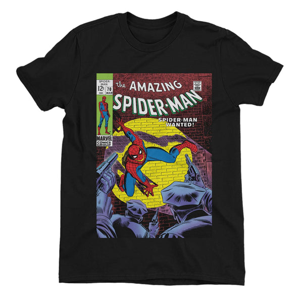 Spiderman Wanted Comic Book Cover Ladies Black T-Shirt