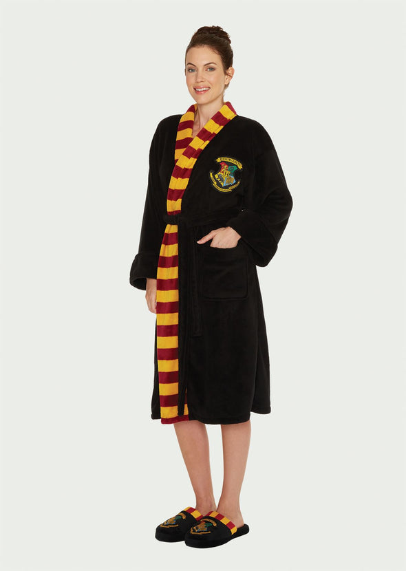 Hogwarts Harry Potter Ladies Black Fleece Robe with Scarf Detail