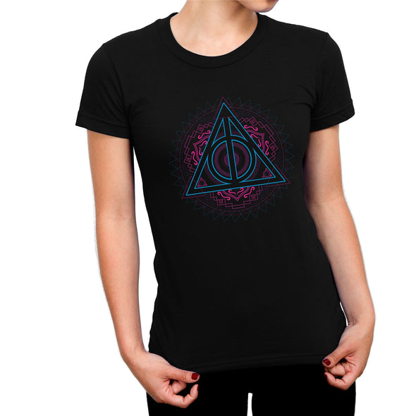 Harry Potter Deathly Hallows Neon Symbol Ladies Black T-Shirt