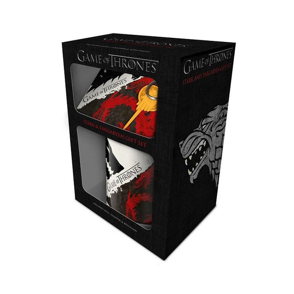 Game Of Thrones Stark and Targaryen Mug, Coaster and Keychain Gift Set
