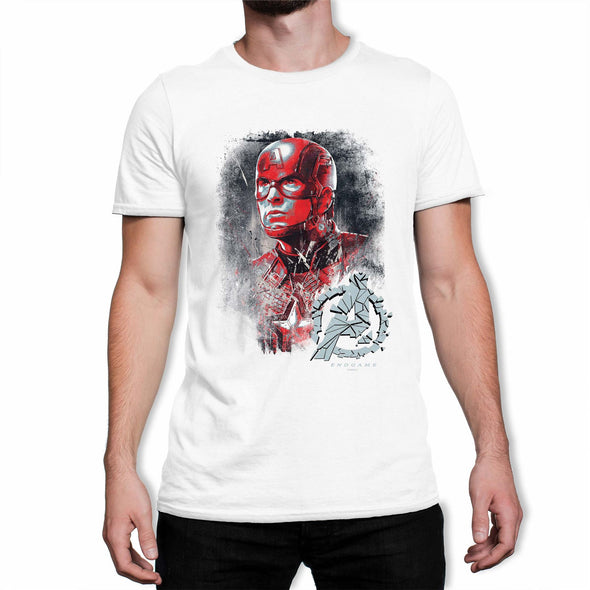 Avengers Endgame Captain America Men's White T-Shirt