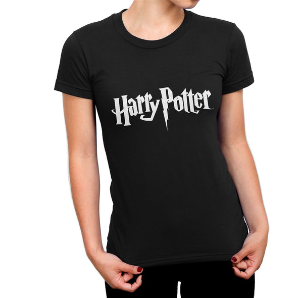 Harry Potter Classic Film Logo Ladies Black T-Shirt