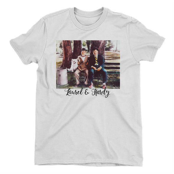 Laurel & Hardy Park Bench Ladies White T-Shirt