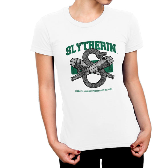 Harry Potter Slytherin Snake Quidditch Emblem Ladies White T-Shirt