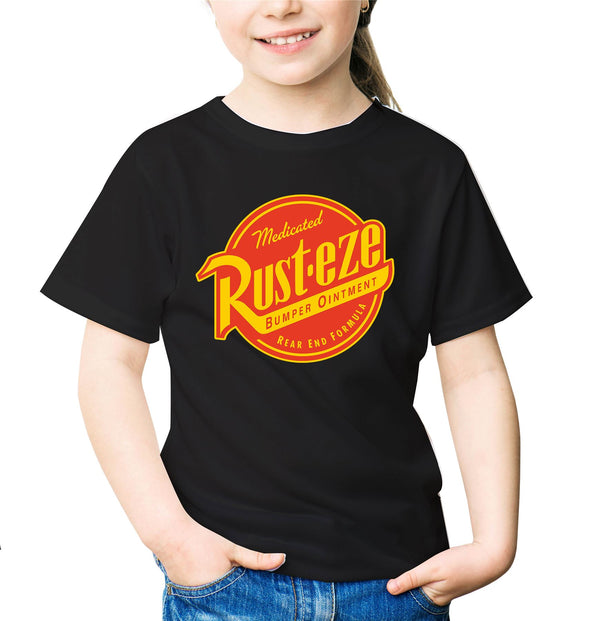 Disney Pixar Cars Rust-eze Logo Children's Unisex Black T-Shirt