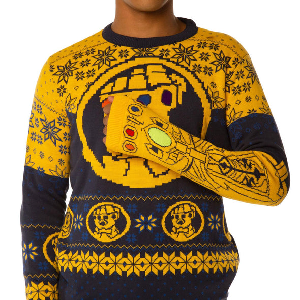 Avengers Infinity War Thanos Gauntlet Blue Knitted Christmas Jumper