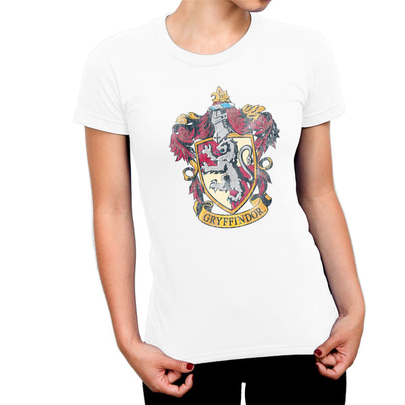 Harry Potter Distressed Gryffindor Crest Ladies White T-Shirt