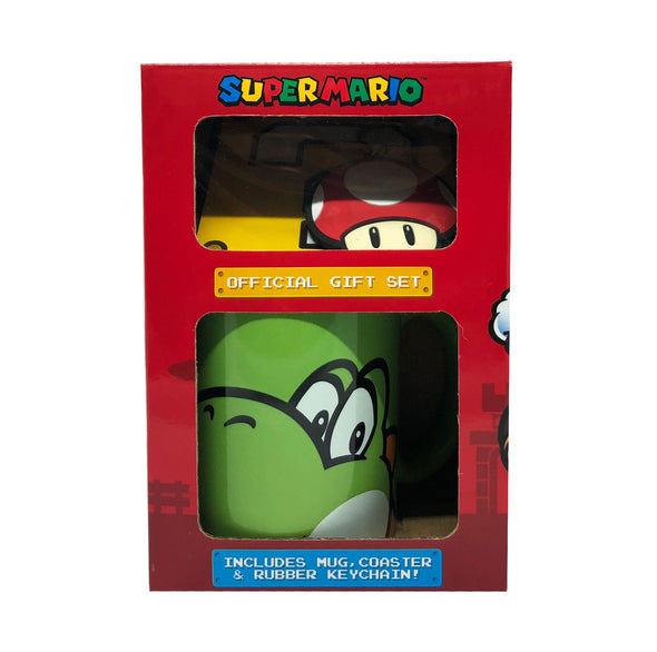Super Mario Yoshi Official Mug Gift Set With Coaster And Key Ring