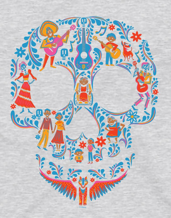 Disney Pixar Coco Skull Men's Grey T-Shirt