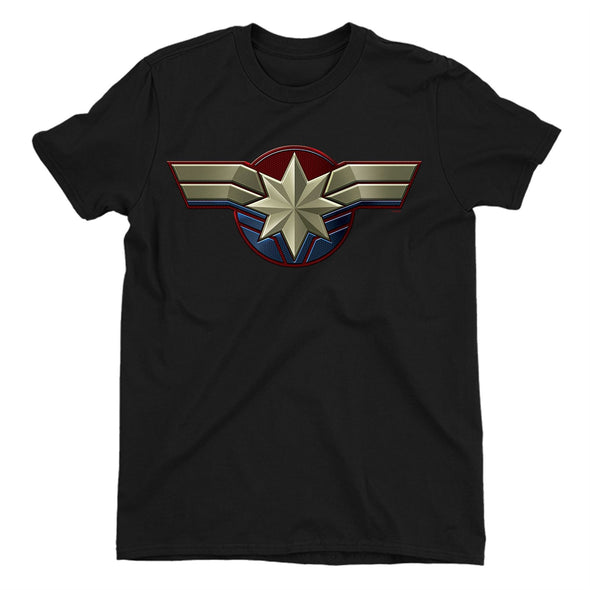 Captain Marvel Emblem Ladies Black T-Shirt