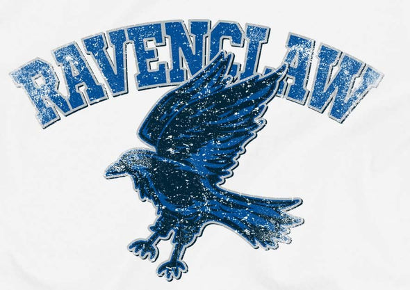 Harry Potter Distressed Ravenclaw Raven Ladies White T-Shirt