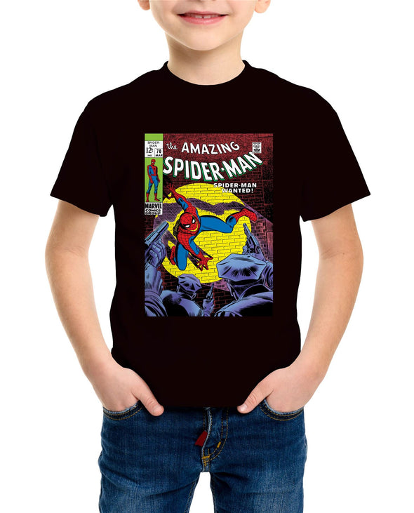 Spiderman Wanted Comic Book Cover Children's Unisex Black T-Shirt