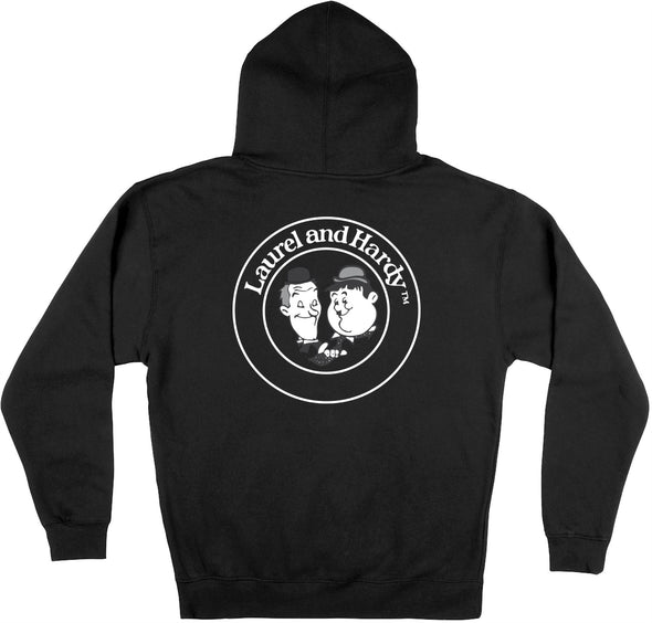 Laurel & Hardy Classic Stamp Unisex Black Zipped Hoodie