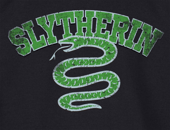 Harry Potter Distressed Slytherin Snake Ladies Black T-Shirt