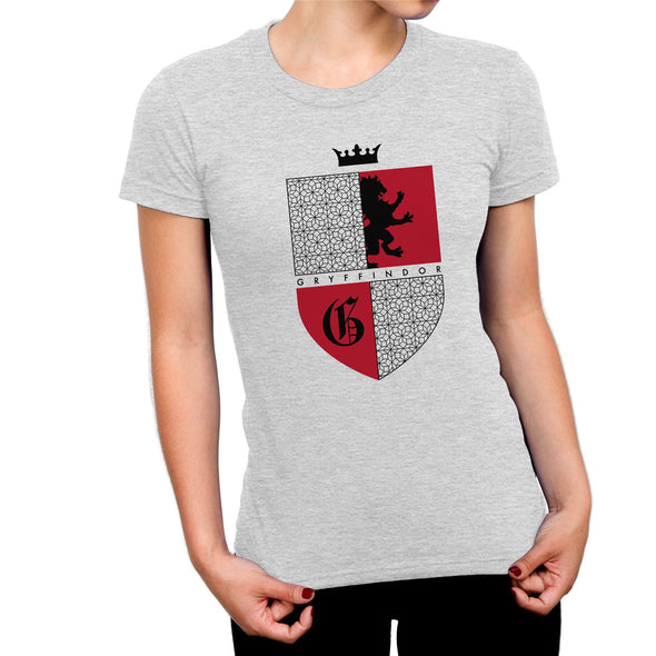 Harry Potter Gryffindor Red & Black Crest Ladies Grey T-Shirt
